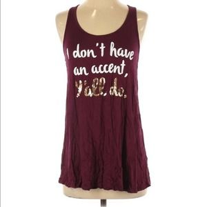 {Charming Charlie} maroon graphic tee funny S
